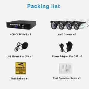 4CH CCTV System 720P/1080P AHD Camera Kit 5 in 1 Video Recorder Surveillance System Outdoor Security Camera Kit Email Alarm